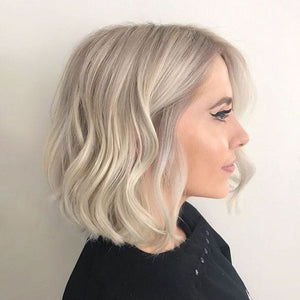 Moresoo Hair 130% Density Bob Wig Lace Front Blonde #18 Highlighted with Blonde #613(Wave #P18/613)