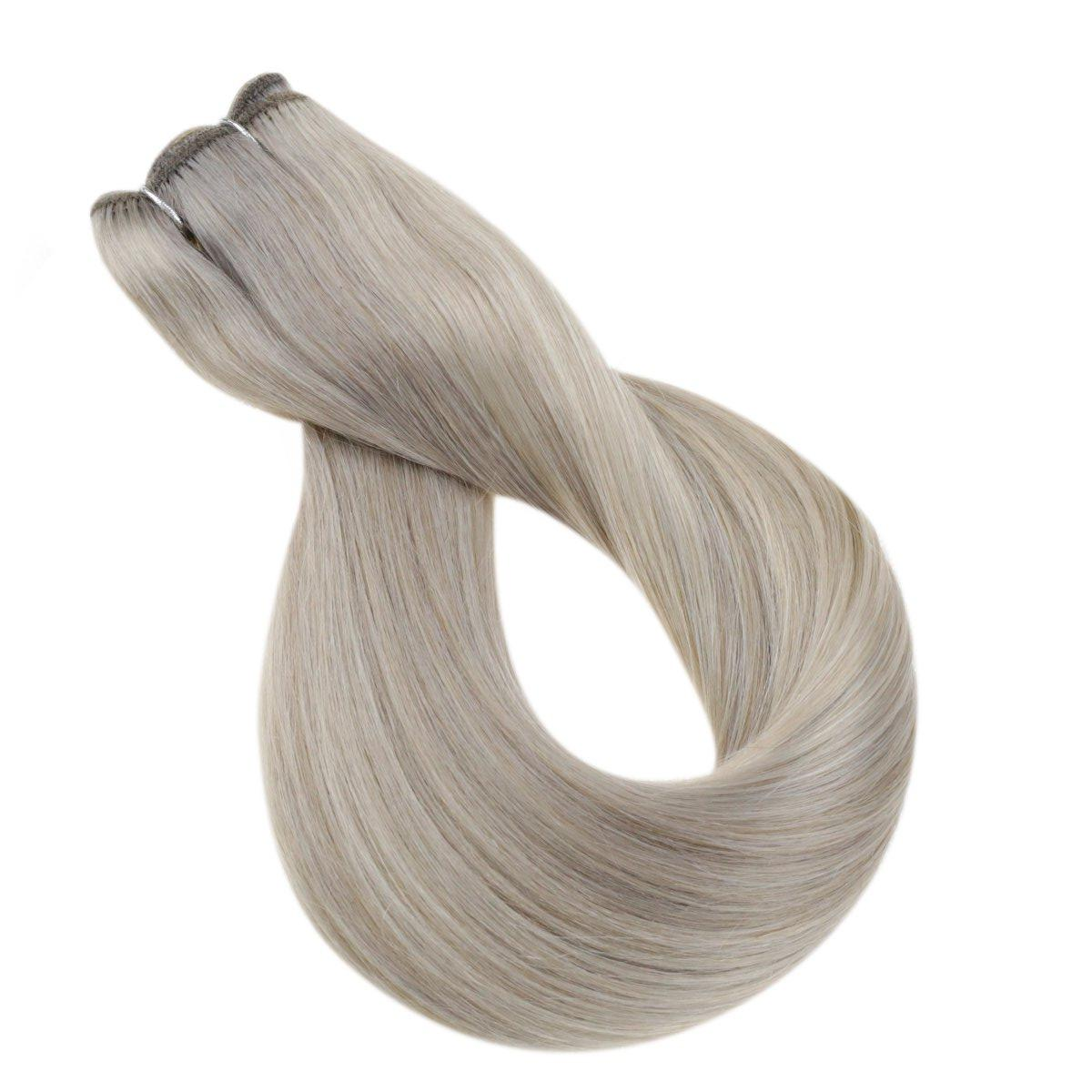 Sew In Weft Human Hair Extensions Remy Human Hair Bundles Highlight Blonde Machine Hair Weft (#P19A/60)