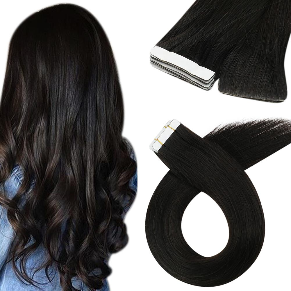 Moresoo Virgin Inject Tape Hair Seamless Injection Tape Hair Virgin Quality Human Hair Extension Off Black(#1B)