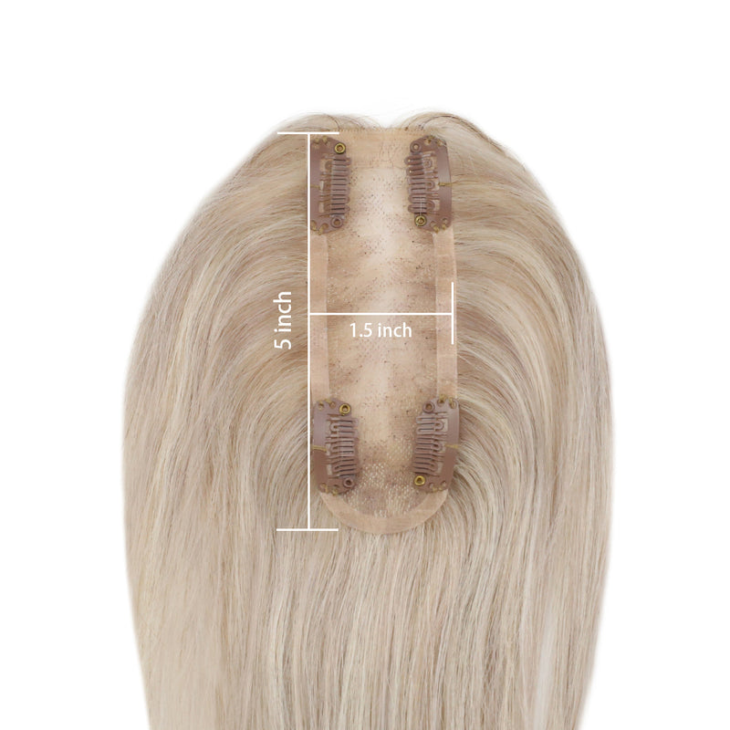 Moresoo Human Topper Real Remy Human Hair Extension 1.5*5 Cap Ash Blonde #18 With Bleach Blonde #613(#P18/613)