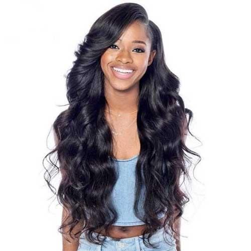 Moresoo Body Wave Brazilian Front Lace Wigs With Baby Hair Off Black #1B