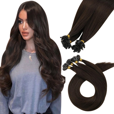 Virign U Tip Human Hair Real Remy Brazilian Hair Extension Darkest Brown (#2)