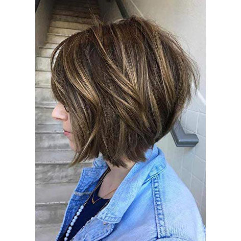 Moresoo Straight Brazilian Wig Mono Bob Blonde #27 Highlights with Brown #4(ST #P4/27) - moresoo