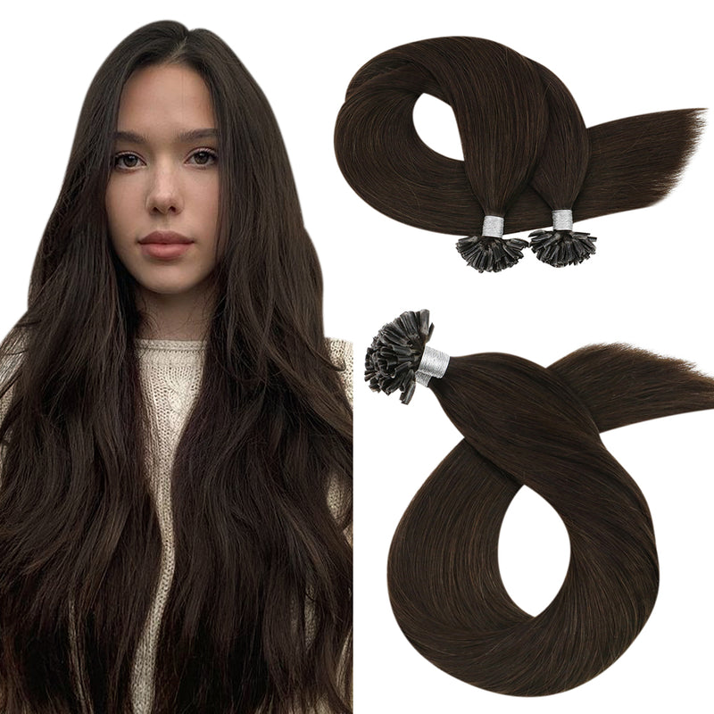 60% Off Moresoo U Tip Keratin Remy Real Human Hair Extension Darkest Brown (