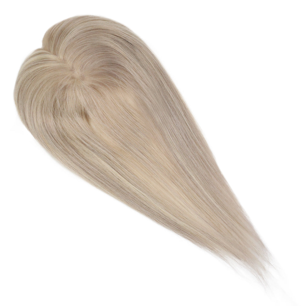 Moresoo Clip in Mono Topper Human Hair Blonde #18 Highlighted with Blonde #613(#P18/613)