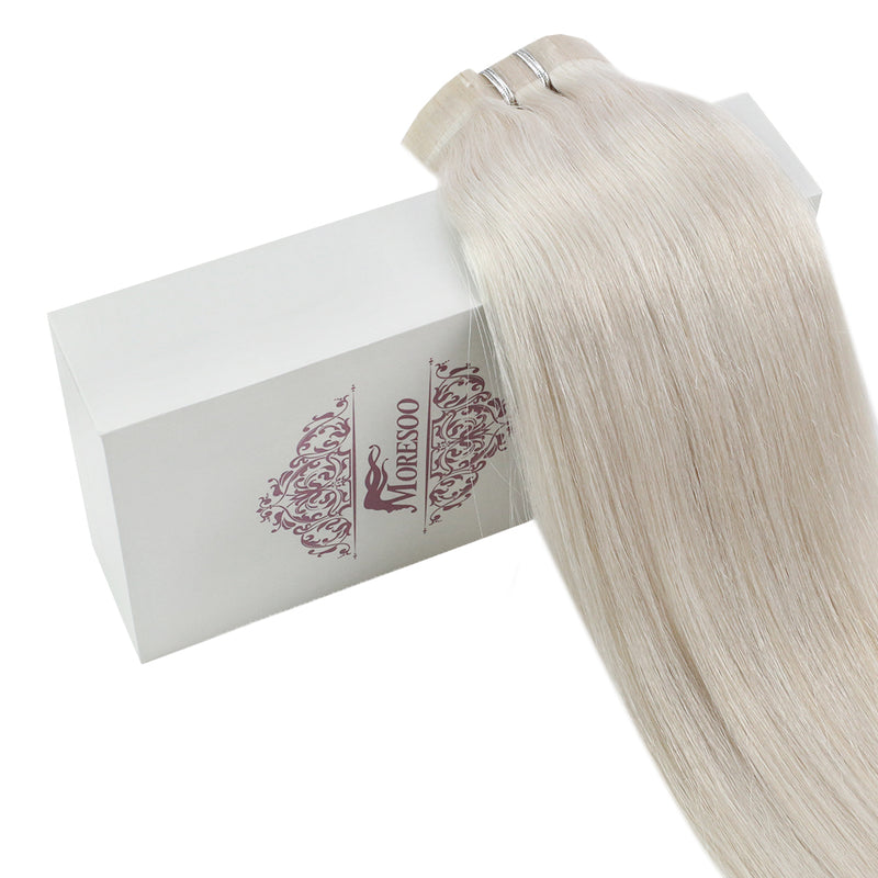 Moresoo 100g Hair PU Clip In Platinum Blonde #60 Silky Brazilian Remy Human Hair Extension(#60A)