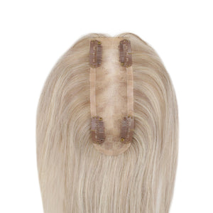 Moresoo Clip in Mono Topper Human Hair 1.5*5 Cap Blonde #18 with Blonde #613(#P18/613)