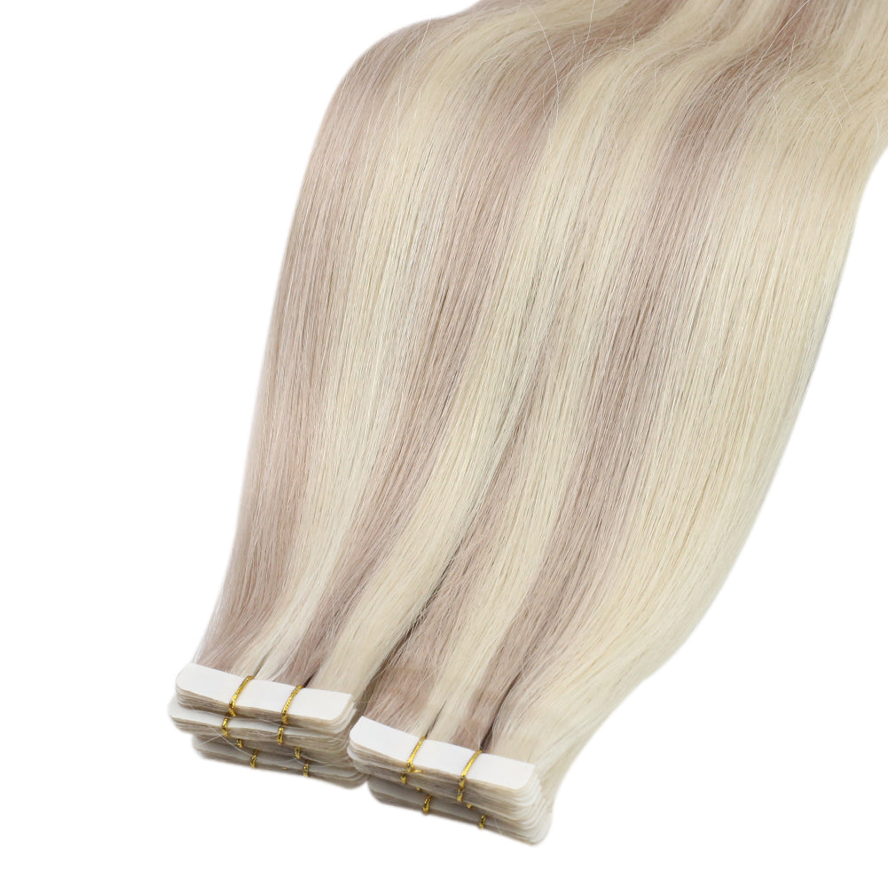 Moresoo Virgin Injected Tape Hair Seamless Injection Tape Hair Virgin Remy Hair Extensions Highlight Blonde(#18/613)