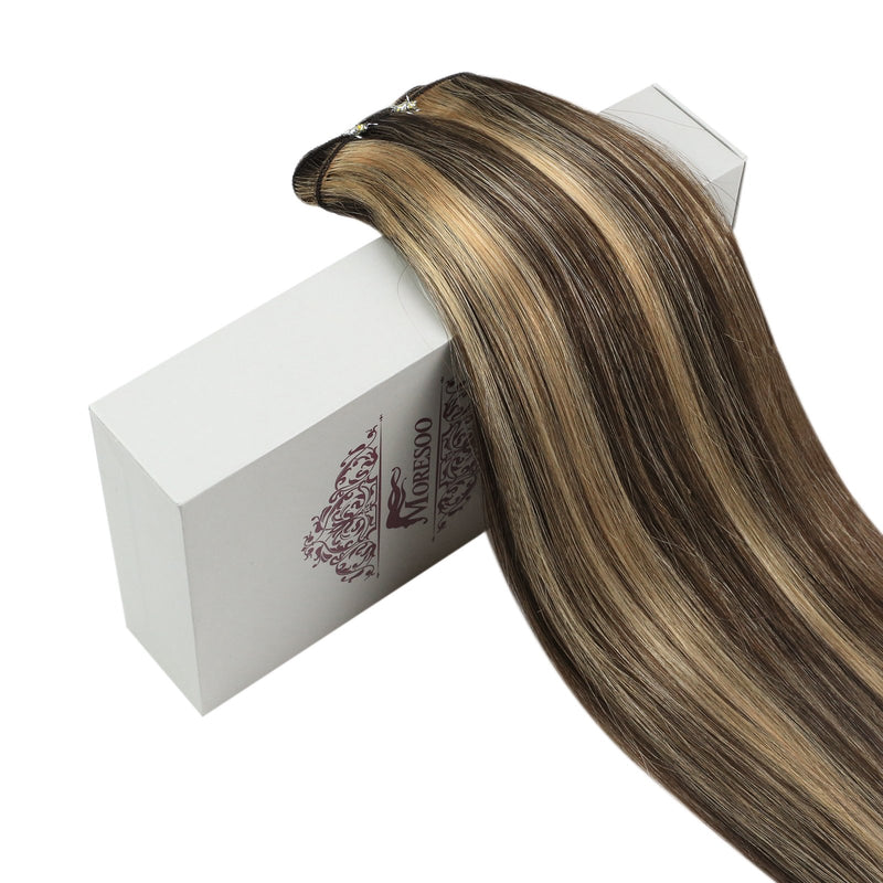Moresoo Highlight Hair Weft Real Human Hair Extensions Healthy Sew In Bundles Highlight Color(