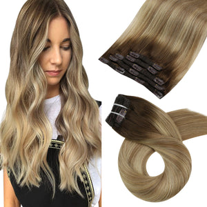 50g Tape in Balayage Hair Brown #4 Fading to Brown #8 Highlighted with Blonde #22(#4/8/22)