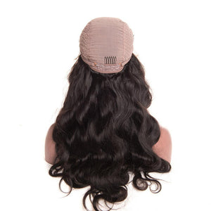 Moresoo Body Wave Brazilian Front Lace Wigs With Baby Hair Off Black #1B - moresoo