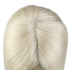 Moresoo Clip in Top Mono Topper Hairpieces Toupee Human Hair Platinum Blonde #60(#60)
