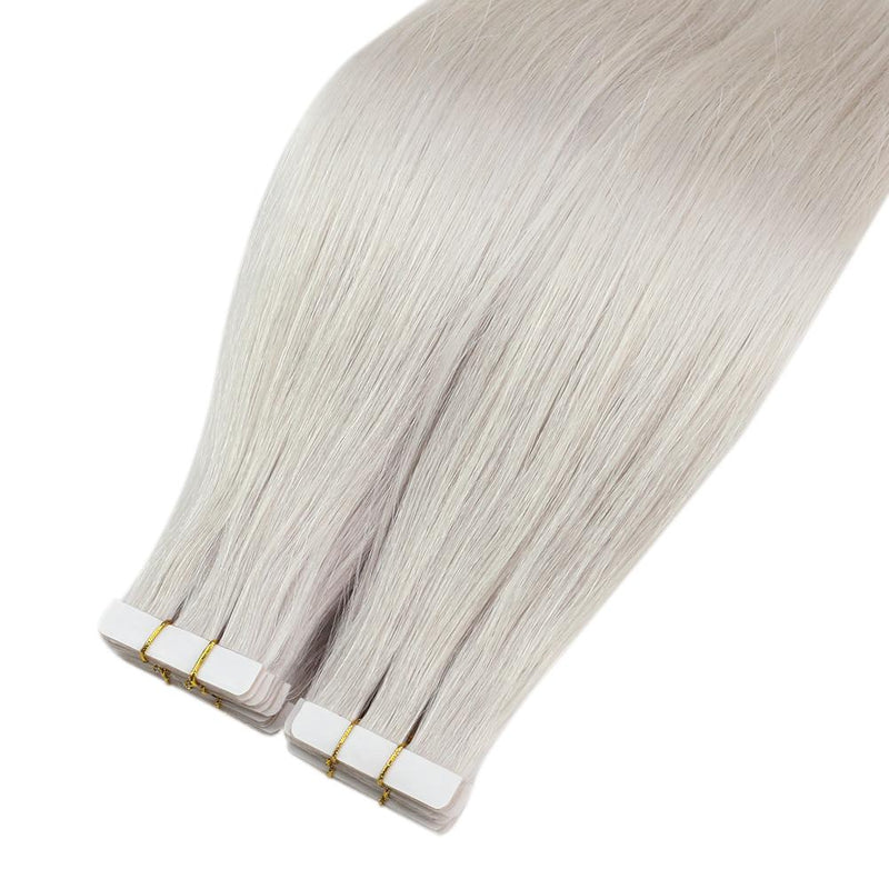 Moresoo Seamless Inject Tape In Hair Extension Virgin Hair Color Brazilian Hair Virgin Tape In Hair Tape Injected Hair White Blonde(