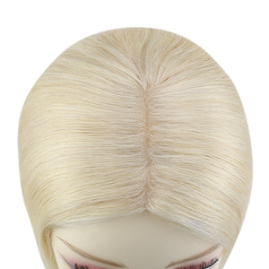 Moresoo Clip in Top Mono Topper Hairpieces Toupee Human Hair Bleach Blonde #613(#613)