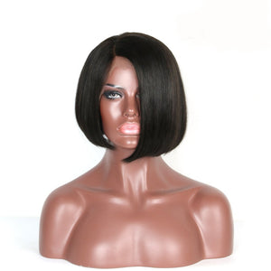 Moresoo Straight Side Part Brazilian Front Lace Bob Wigs #1B Off Black with Baby Hair(#1B ST) - moresoo