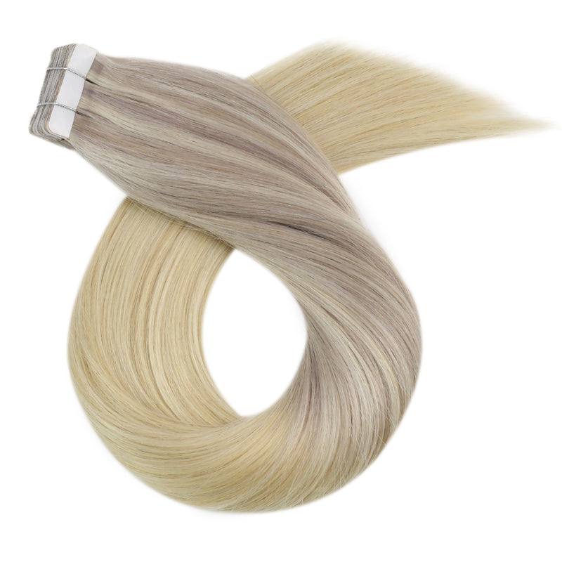 Clearance Moresoo Glue in Hair Extensions Human Hair Real Hair Extensions Tape in Brazilian Hair Balayage Blonde #18 Fading to Blonde #22 Mixed with Blonde #60(#18/22/60)
