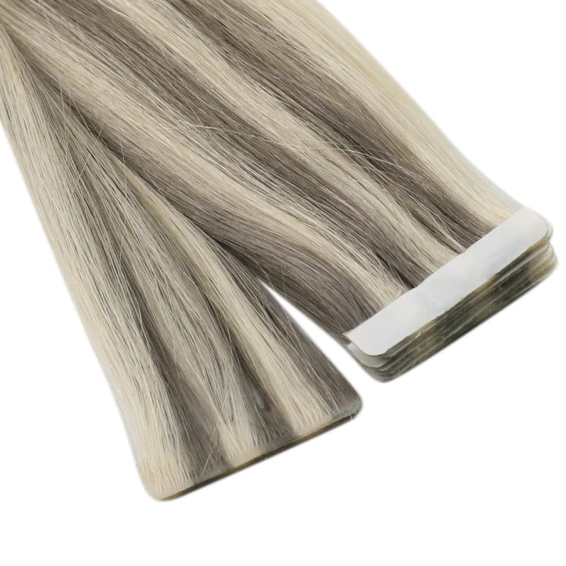 Moresoo Virgin Indian Hair Extensions Seamless Inject Tape Hair Virgin human Injection Tape Hair Extension Highlight Blonde(