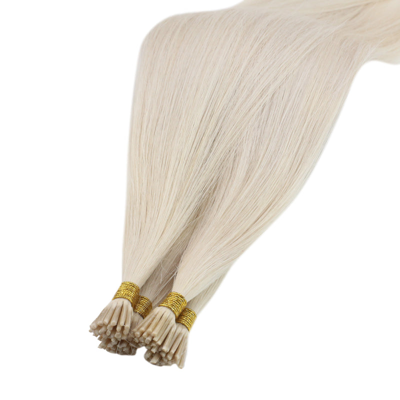 60% Off Virgin I Tip Remy Human Hair Extensions Brazilian Human Hair Extension Bleach Blonde (