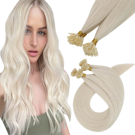 Virgin U Tip Raw Human Hair Kertain Extension High Quality Hair Platinum Blonde (#60)