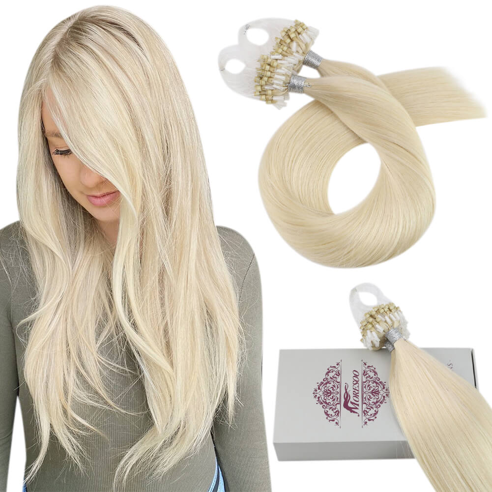 Moresoo Micro Loop Hair Remy Human Extesnions Natural And Soft Hair Platinum Blonde #60(#60)