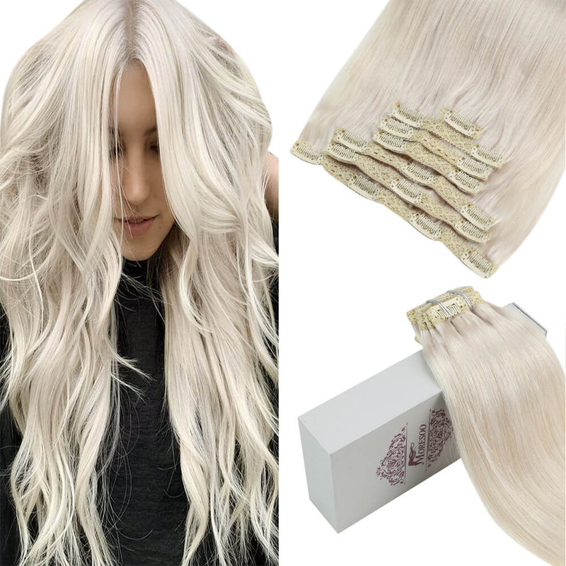 Moresoo 100g Hair Clip In Platinum Blonde #60A Brazilian Remy Human Hair Extension(#60A)