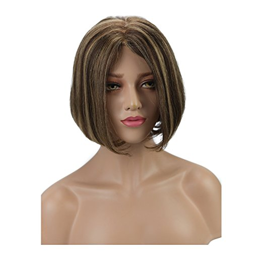 Moresoo Straight Brazilian Wig Mono Bob Blonde #27 Highlights with Brown #4(ST #P4/27)