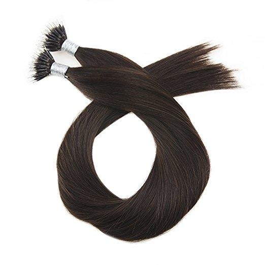 Moresoo 40g  Dark Brown #2 Micro Nano Ring Remy Human Hair Extensions(#2) - moresoo