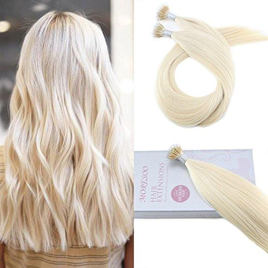 Moresoo 40g Platinum Blonde #60 Micro Nano Ring Remy Human Hair Extensions(#60) - moresoo