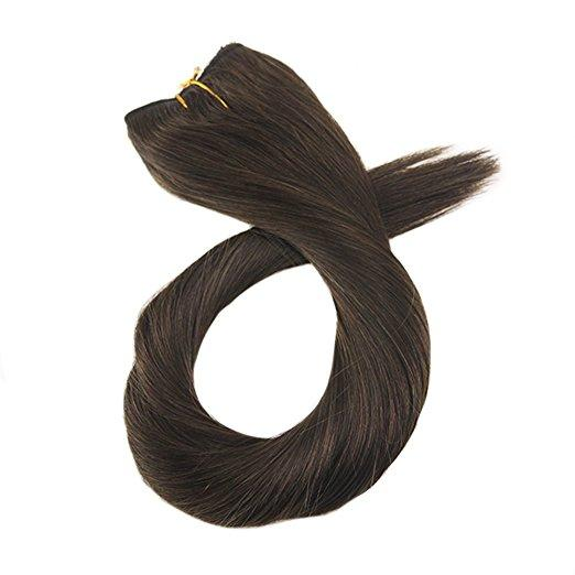 Moresoo Darkest Brown Halo Remy Human Hair Extensions(