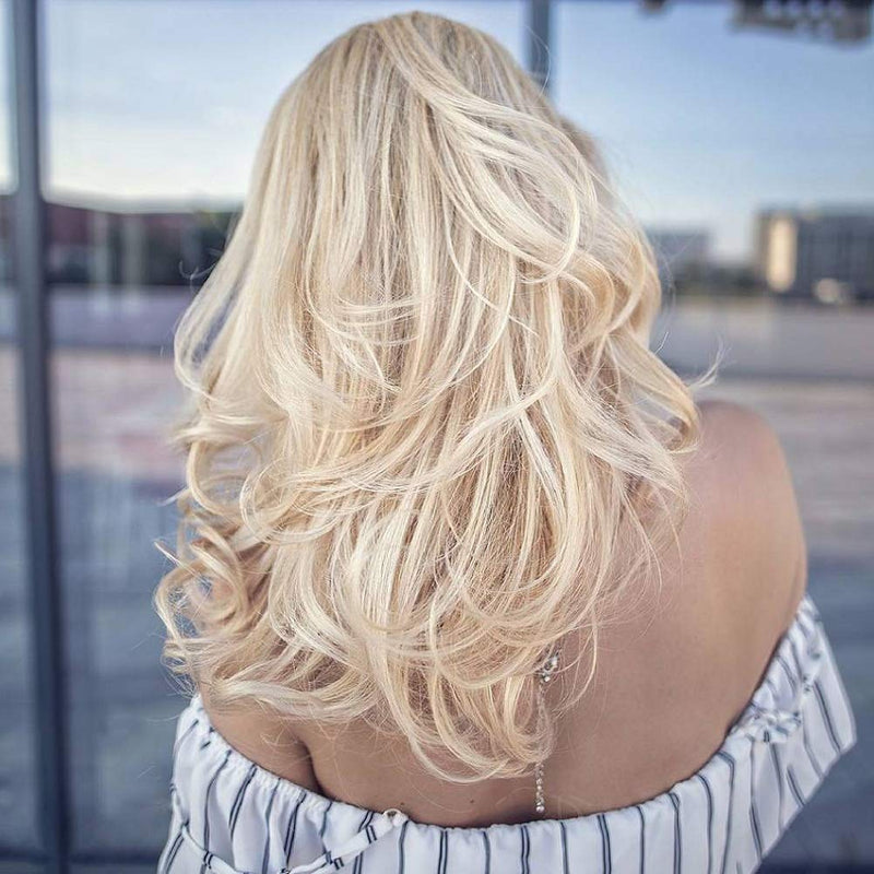 Moresoo Mono Topper Clip In Human Hair Remy Extension Hair Toopue 1.5*5 Cap Bleach Blonde #613(#613)