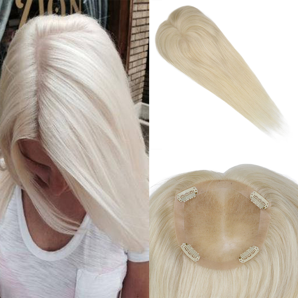 Moresoo Clip in Top Mono Topper Hairpieces Toupee Human Hair Platinum Blonde #60(#60) - moresoo