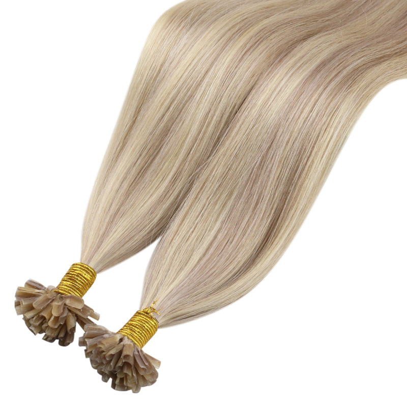 60% Off Moresoo U Tip Keratin Human Hair Extension Ash Blonde #18 Highlighted With Bleach Blonde #613(#P18/613)