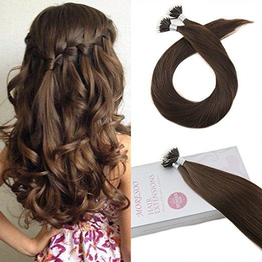 Moresoo 40g Chocolate Brown #4 Micro Nano Ring Remy Human Hair Extensions(#4) - moresoo