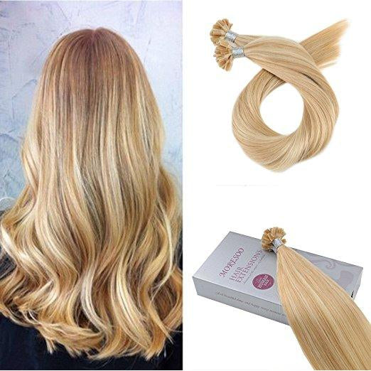 U Tip Keratin Remy Human Hair Extension Golden Blonde #16 Highlighted with Blonde #22 (#P16/22) - moresoo