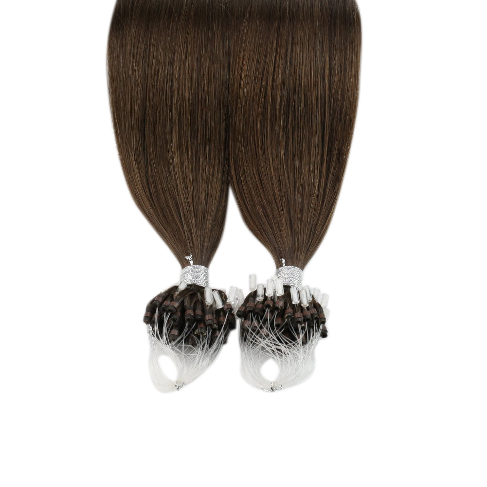 Moresoo Real Remy Human Hair Extension Micro Loop Chocolate Brown #4(#4)