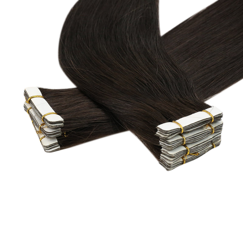 Moresoo Seamless Injection Tape Hair Virgin Remy Hair Brazilian human Tape Injected Virgin human Hair Extension Darkest Brown(