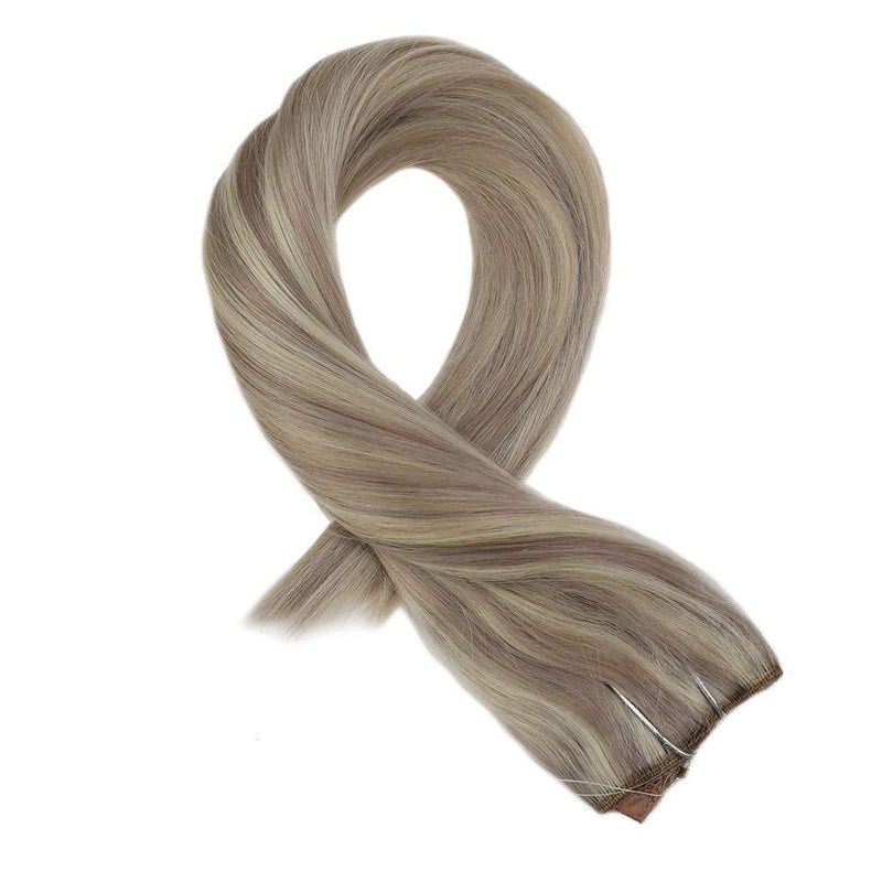 [Clearance] Moresoo Halo Human Hair Extensions Ash Blonde #18 Highlighted with Bleach Blonde #613(P18/613)