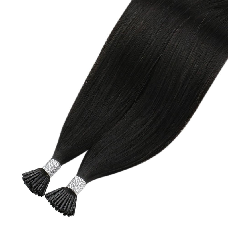 [Clearance] Moresoo I Tip Keratin Remy Human Hair Extension Single Color Off Black #1B(#1B)