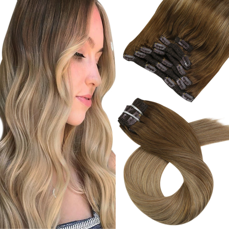 Moresoo 100g Hair Clip In Balayage Light Brown #8 Highlighted with Golden Blonde #16(#8/16)