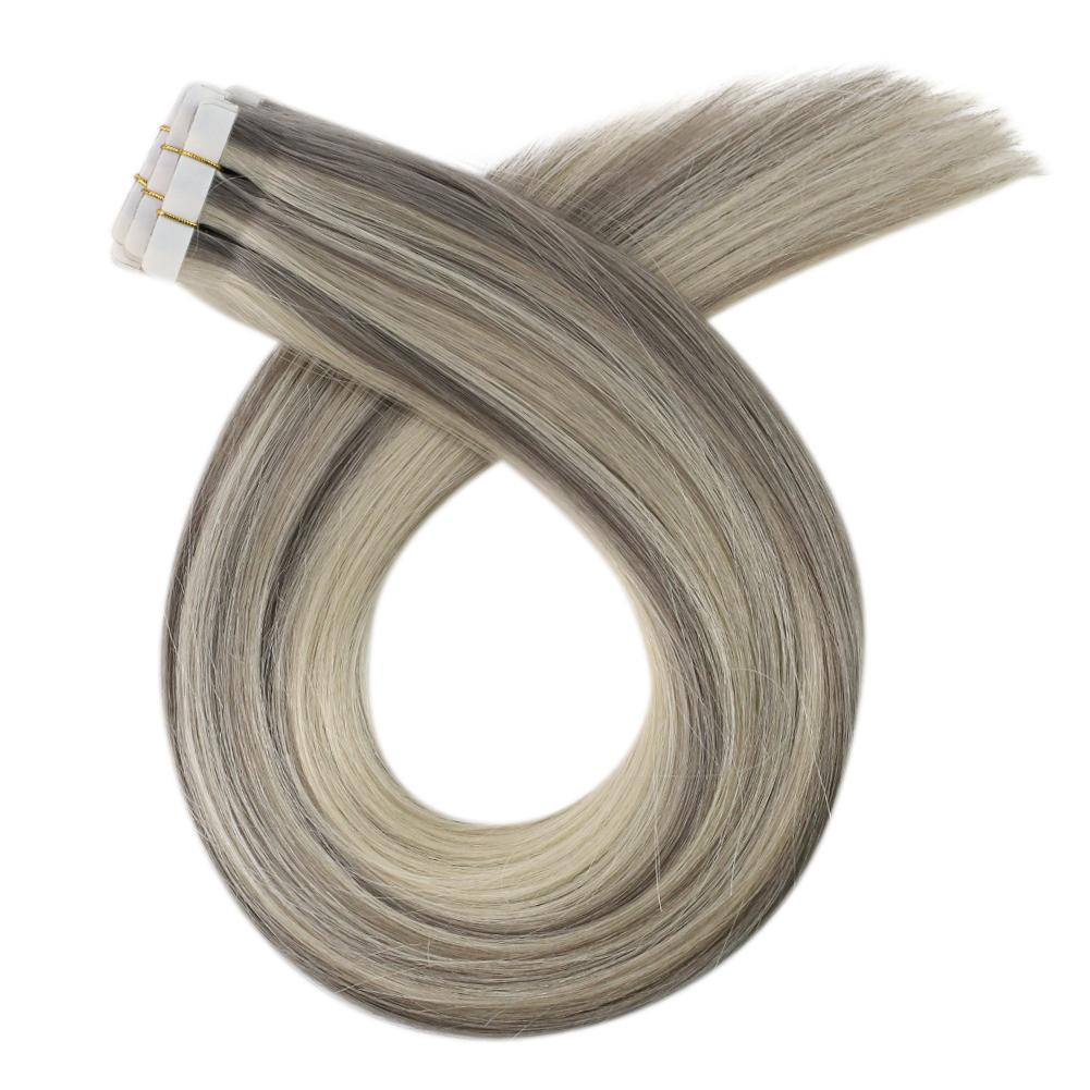 Moresoo Virgin Indian Hair Extensions Seamless Inject Tape Hair Virgin human Injection Tape Hair Extension Highlight Blonde(#19A/60)