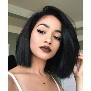 Moresoo Straight Side Part Brazilian Front Lace Bob Wigs #1B Off Black with Baby Hair(#1B ST)