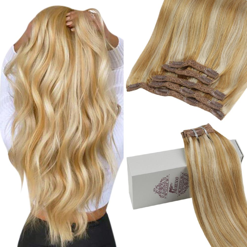 Moresoo 100g Hair Clip in Piano Color Honey Blonde #14 Highlighted with Bleach Blonde #613(#P14/613)