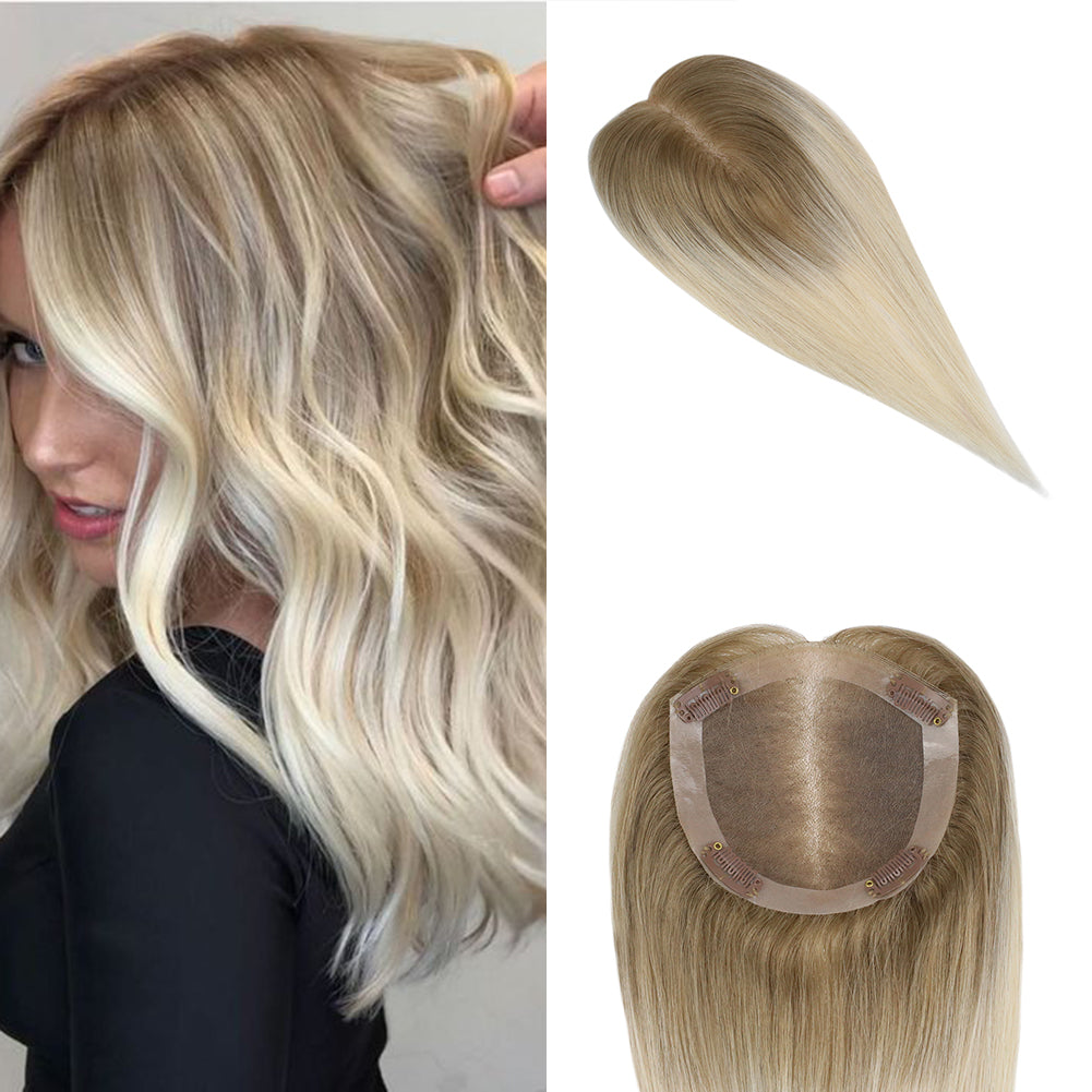 Moresoo Clip in Top Mono Topper Hairpieces Toupee Human Hair Brown #6 Ombre to Blonde #613(#T6/613)