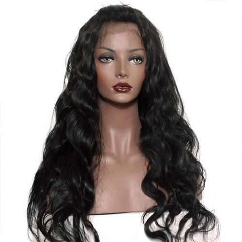 Moresoo Body Wave Brazilian Full Lace Wigs With Baby Hair Off Black