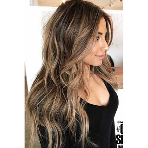 Moresoo Clip in Mono Topper 5*5 Cap Brown #4 Highlightted with Blonde #27(#P4/27)