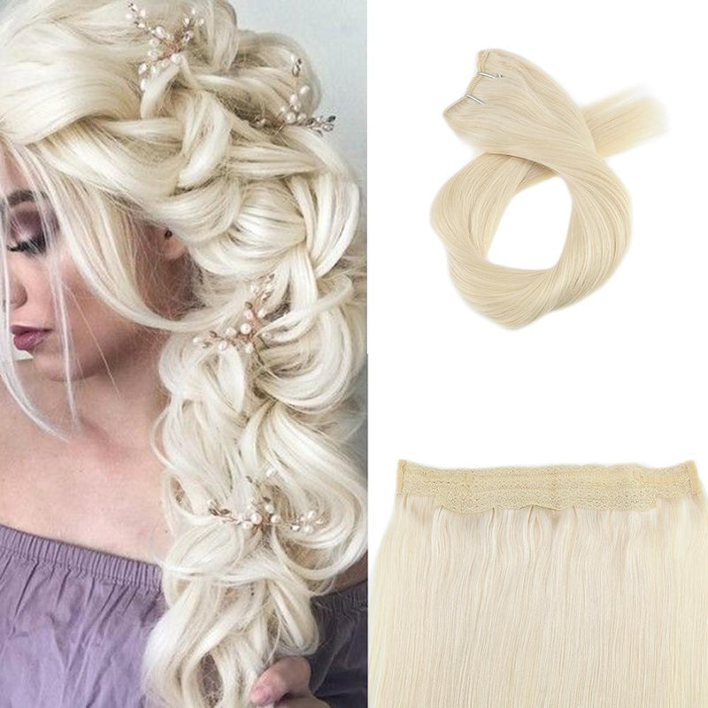 [Clearance] Moresoo Halo Hair Extensions Double Weft Human HairPlatinum Blonde #60 (#60)