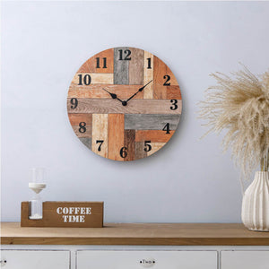 NIKKY HOME Wall Clock Silent Non Ticking - 16 Inch Quartz Battery Operated Round Vintage Farmhouse Wall Decor for Home/Office/Kitchen/Living Room/Bedroom