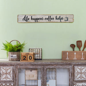 Rustic Farmhouse Wooden Wall Decorative Sign 32.09 x 1.1 x 4.53 Inches - Life Happens Coffee Helps
