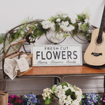 Load image into Gallery viewer, Vintage Metal Wall Spring Sign Decor 24.02 x 0.67 x 10.04 Inches, White - Fresh Cut Flowers