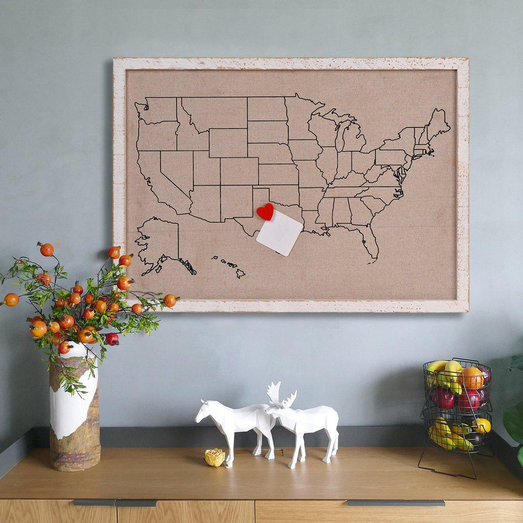 "Magnetic Travel Map of USA Photo Board Message Signs - 28"" x 20"""
